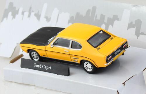 FORD CAPRI GIALLO con nero cofano 1:43 Cararama Modello di auto
