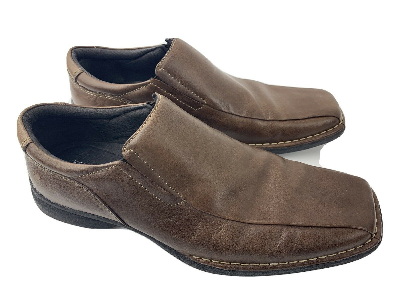 Kenneth Cole Punchual Brown Leather Slip On Men's Shoes Size 11.5