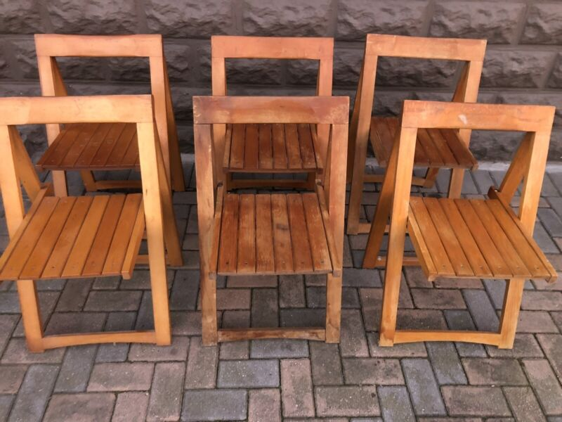 Dining Chairs - Beechwood Folding Dining Chairs x 6 - Excellent - Guarantee - Delivery Arranged