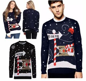 Unisex-Womens-Mens-Christmas-To-The-Pub-Jumper-Sweater-Rudolph-Knitted-Xmas-Top