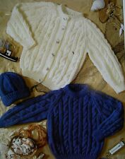 """BABY~ARAN ~CARDIGANS ~SWEATER~V NECK/ROUND~CABLE ~KNITTING PATTERN~ 18""""-24""""(4S)"""