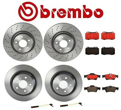 For W230 SL550 Rear 2 Vented Cross Drilled Brake Disc w// Pad /& Sensor KIT