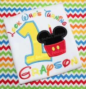 Image Is Loading Mickey Minnie Mouse Birthday Shirt Happy Party 1st