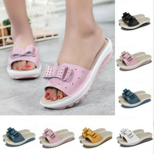 Women Ladies Summer Beach 5 Colors Bowknot Flats Casual Slipper Sandals 40//41//42