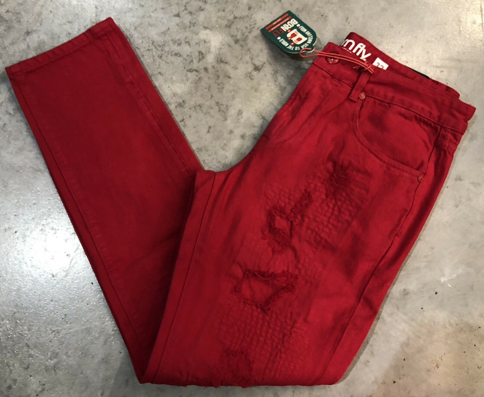 Born Fly True Straight Leg Red Jeans Sz. 32 NWT Retail   100% Authentic