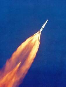 SPACE ROCKET LAUNCH APOLLO 11 AFTERBURN FLAME COOL MISSION USA ART PRINT BB9418