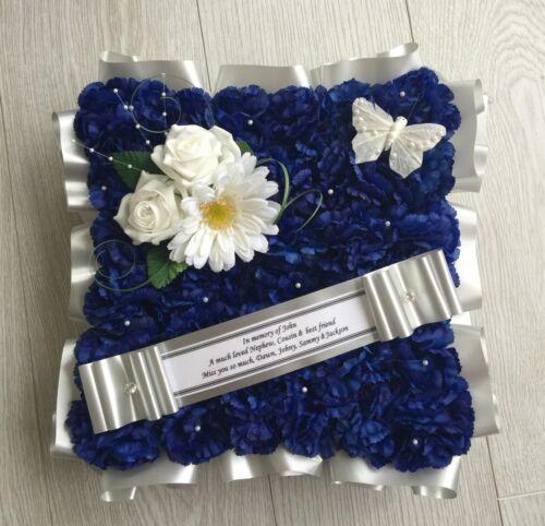SILK WREATH MEMORIAL GRAVE FUNERAL BLUE GERBERA ARTIFICIAL FUNERAL FLOWERS