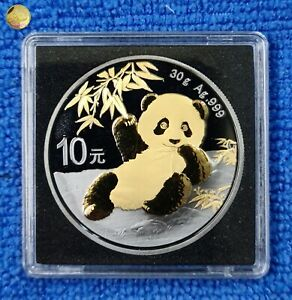 10 Yuan 2020 China Panda Golden Enigma Edition Vergoldet, Ruthenium, 30g Silber