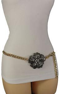 Mujer Cintura Alta Hip Moderno Metal Dorado Cadenas Angostas Cinturón Flor XS XL