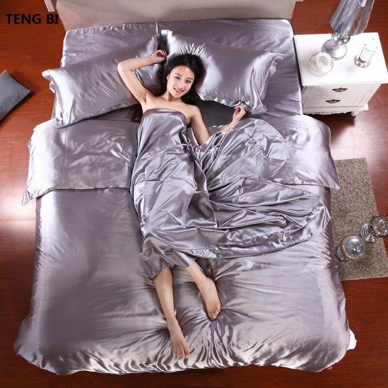 100% Pure Satin Silk Bedding Bed Set, King \ Queen Größe Duvet