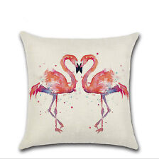 Retro Flamingo Cotton Linen Throw Sofa Pillow Case Cushion Cover Home Decor 18""