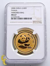 2000 Gold Chinese Panda 1 oz. G500Y Mirrored Ring Graded by NGC as MS-67!