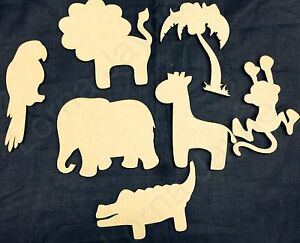 Image Is Loading Wooden Cutout Stencil Letters Safari Animals Craft Shapes