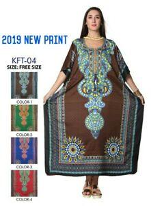 LADIES NEW SUMMER DASHKI  PRINT LONG KAFTAN DRESS AFRICAN STYLE PLUS SIZE 12-24