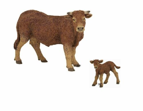 Vitello NUOVO 2 personaggi gioco personaggi Papo Animali Fattoria 51131 51132 Limousin Mucca