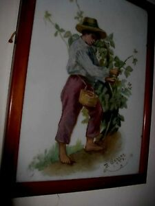 Crystoleum-style-picture-The-Cherry-Picker-signed-by-artist-1908