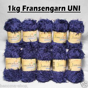 1kg-Fransenwolle-034-BLAU-UNI-034-Fransengarn-Effektgarn-Wolle-zum-stricken-Brazilia