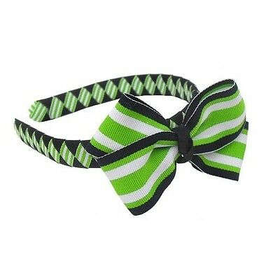 Lime and Navy Striped Boutique Bow on Woven Headband
