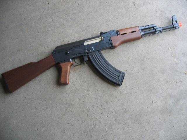 double eagle m900a metal ak 47 aeg airsoft gun wood with aim point