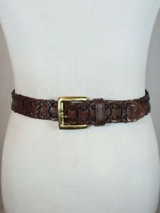 Vintage-Woven-Braided-Basketweave-Brown-Leather-Belt-Size-Small-Brass-Buckle