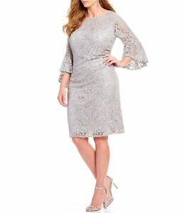 d29b272571e Details about  380 NIGHTWAY WOMEN S SILVER SEQUINED BELL-SLEEVE LACE  COCKTAIL DRESS SIZE 10