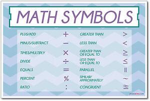Math Symbols - NEW School Educational Classroom Mathematics POSTER ...