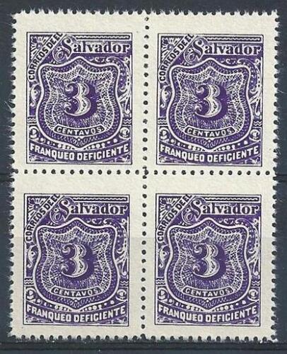 El Salvador 1898 Sc# J35 vio 3c Postage due block 4 MNH