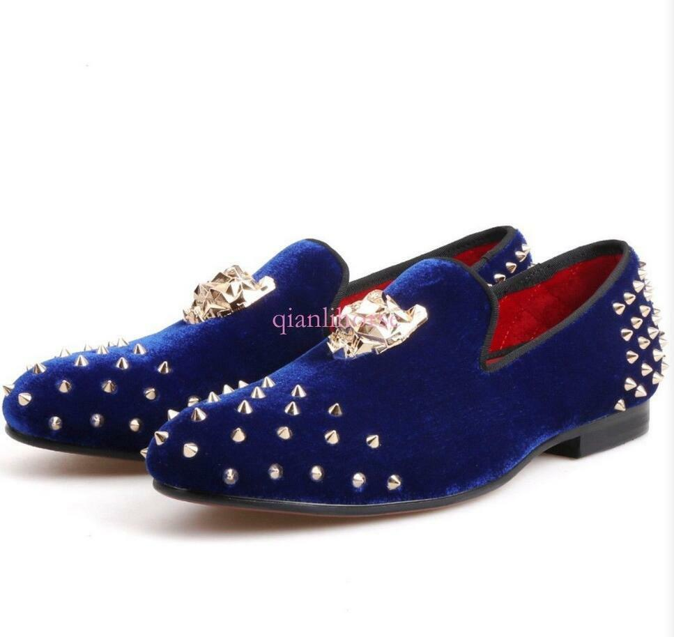 Men Velvet Metal Tiger Rivet Punk Party Club Loafer Casual Slip on Wedding shoes