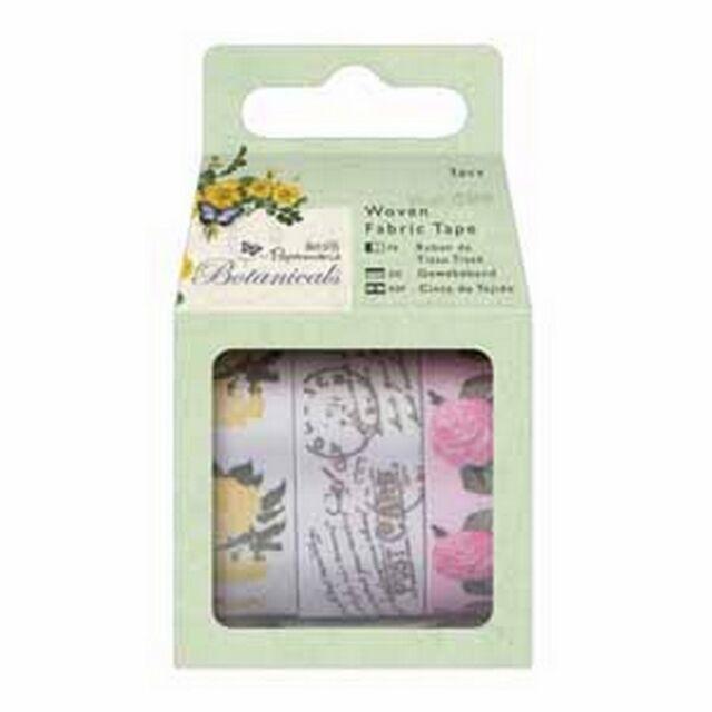 Papermania 1m Woven Fabric Tape (3pcs) - Botanicals