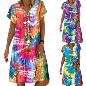 Plus Lady Tie-dye Summer Tunic Kaftan Dress Beach Casual Loose Baggy Boho