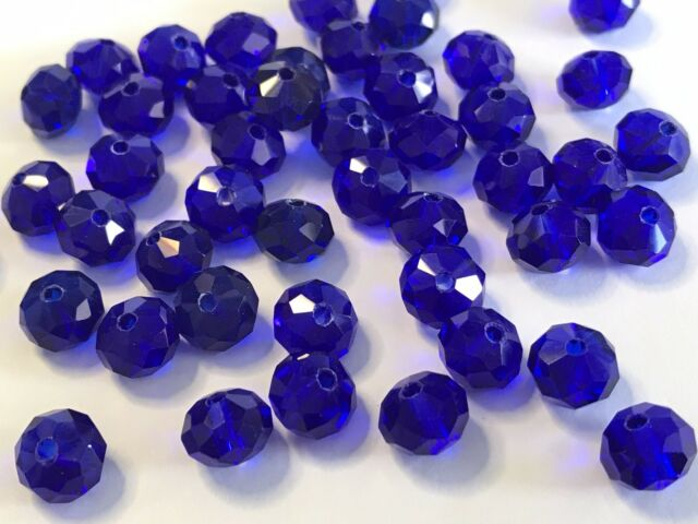 20pcs Royal Blue Glass Faceted 8mm Rondelle Crystal Beads Craft Jewellery