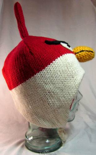 Beanie Fly Hat Red Bird Winter Hand Knit 100/% Wool Warm Polyfleece Lined Nepal