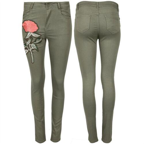Women Ladies Denim Jeans Flower Rose Embroidered Skinny Fit Full Length Trouser