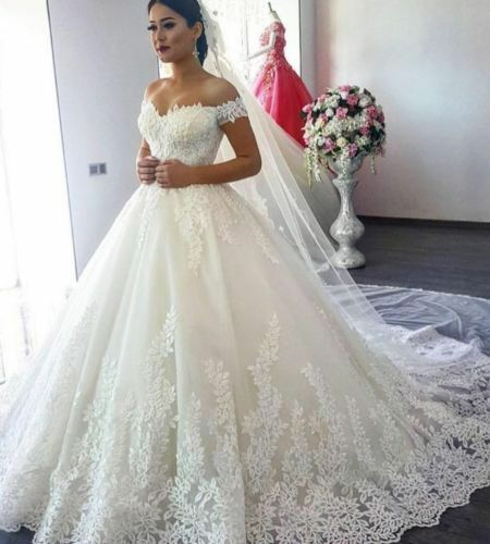 Simple Wedding Dresses Off the Shoulder Cap Sleeves Lace Applique White Ivory