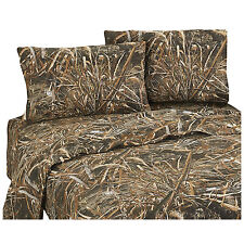 Realtree Max-5 Queen Sheet Set Camo 4pc Grasses Ducks Geese Hunting Rustic Cabin