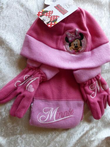 Sciarpa /& Guanti Set = 2 variazioni ROSA!!! DISNEY Minnie Mouse Ragazze in Pile Cappello