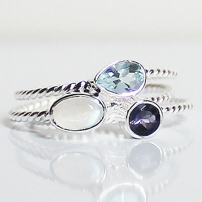 100% 925 Solid Sterling Silver Mix Stone Stacking Ring - Size 7, 8 & 9
