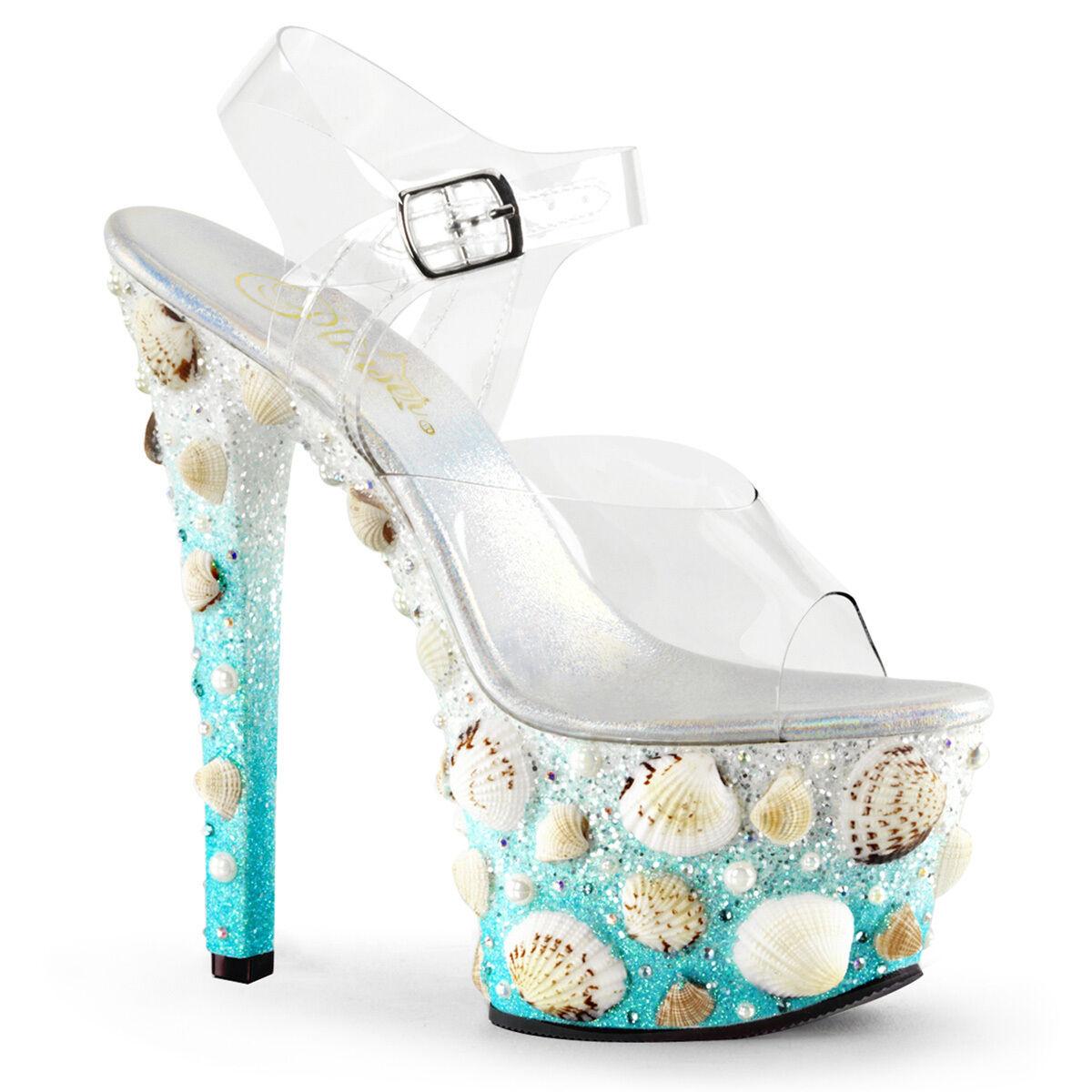 7  Blau Clear Mermaid Cosplay Shells Platform High Heels Stripper schuhe Pleaser