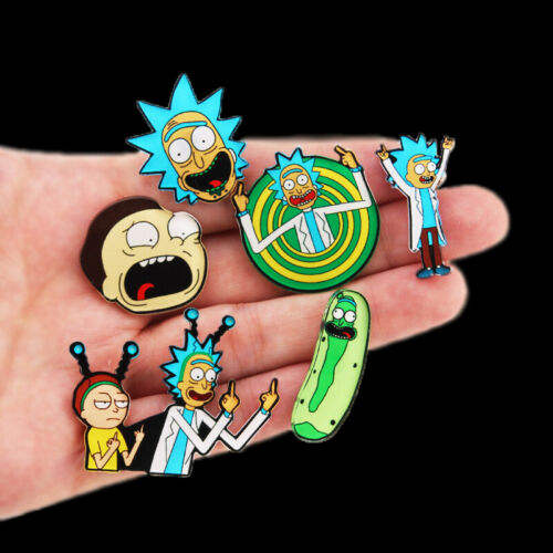 Rick and Morty pins Genius mad scientist Badge Buttons Brooch Anime Lovers