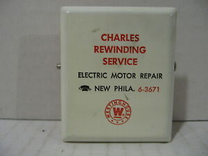 Vintage-Advertising-Metal-Clip-Charles-Rewinding-Service-New-Phila-OH