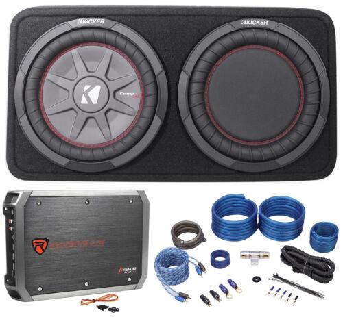 "Kicker 43TCWRT104 10/"" Shallow Car Subwoofer In Slim Sub Box+Amplifier+Amp Kit"