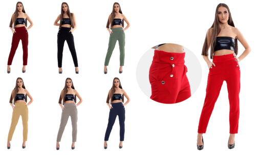 Womens High Waist Straight Button Trouser Ladies Ankle Length Casual Wear Pants