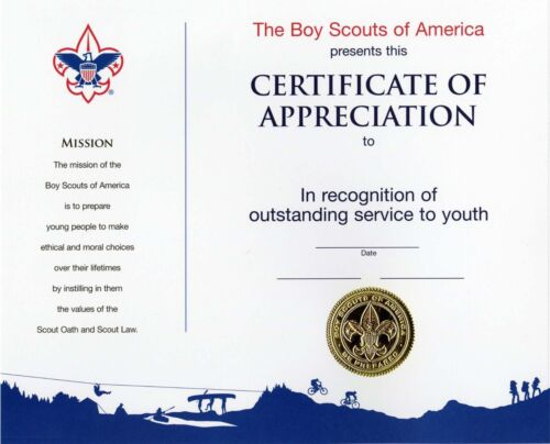 """BOY SCOUT OFFICIAL LICENSED CERTIFICATE of APPRECIATION ADULT AWARD 8.5/"""" X 10/"""""""