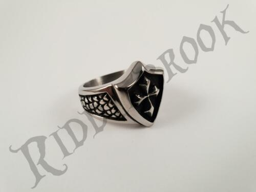 Stainless steel KNIGHTS TEMPLAR SHIELD Biker ring mason cross band  Masonic
