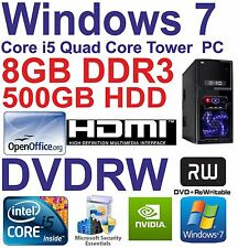 . Windows 7 Core i5 Quad Core HDMI Gaming Tower PC 8GB DDR3 - 500GB HDD DVD-RW