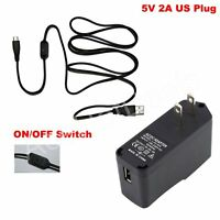 US Power Supply adapter Charger ON/OFF switch Cable 5V 2A For Raspberry Pi B+/B