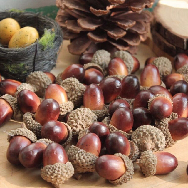 10x Decorative Fake Fruits Artificial Mini Acorn Oak Nut Ornaments Home Decor HF