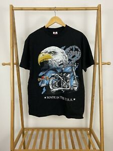 VTG-2001-Nothing-But-Bikes-Bald-Eagle-Big-Graphic-Black-T-Shirt-Size-L
