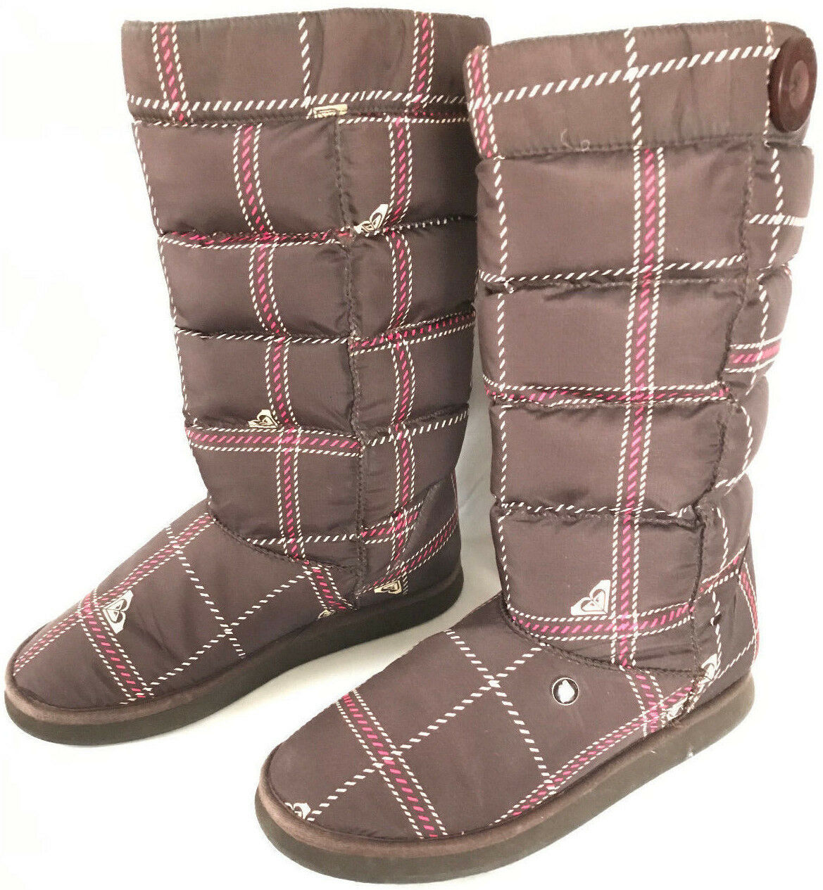 ROXY Shiver Winter Snow Boot Plaid Lined Pull-On Surf Comfort Boots Women's 8 M