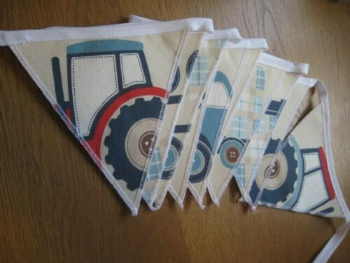 "/""TRACTORS /& TRUCKS/"" LAURA ASHLEY HANDMADE BUNTING CHILDREN//NURSERY 10  FLAGS"